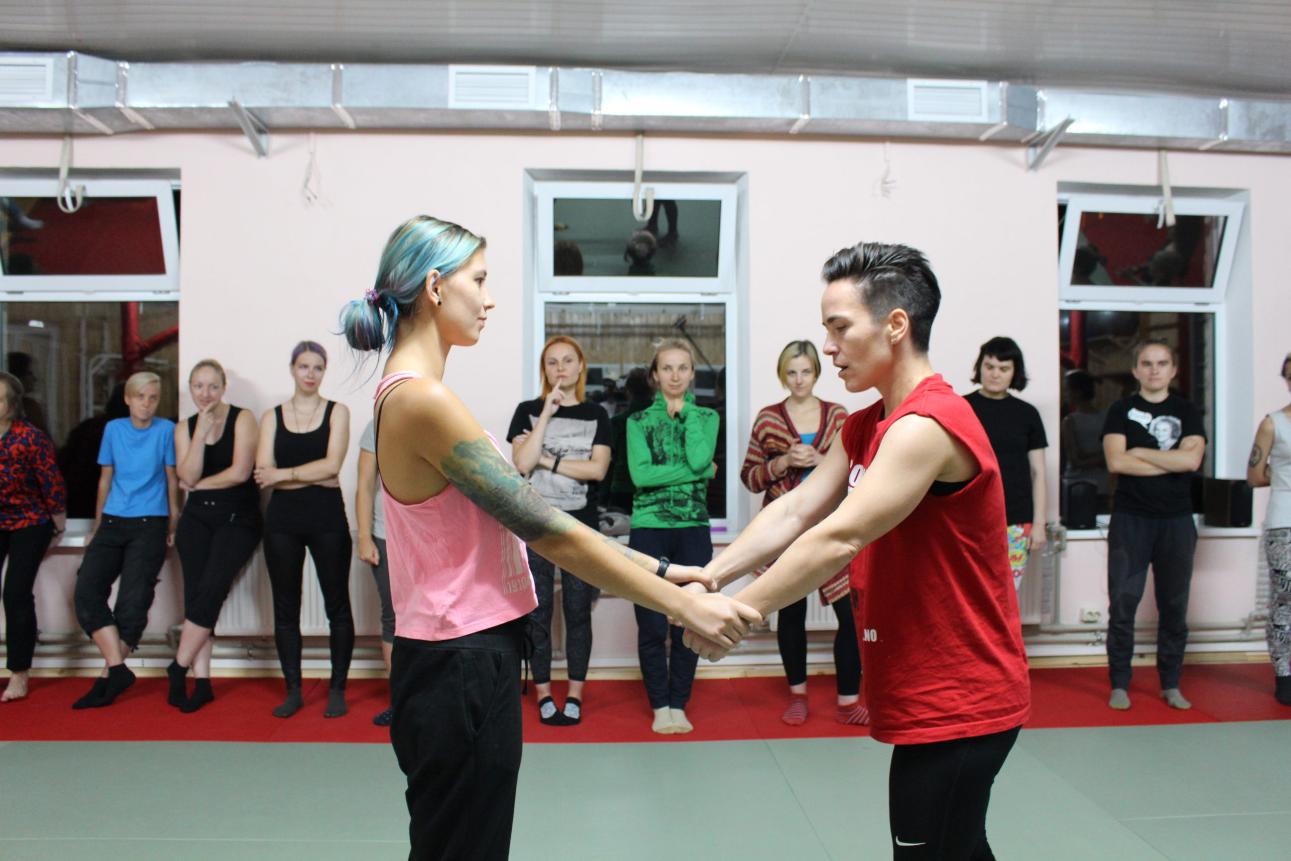 Members of Insight teach a self defense class in Ukraine.