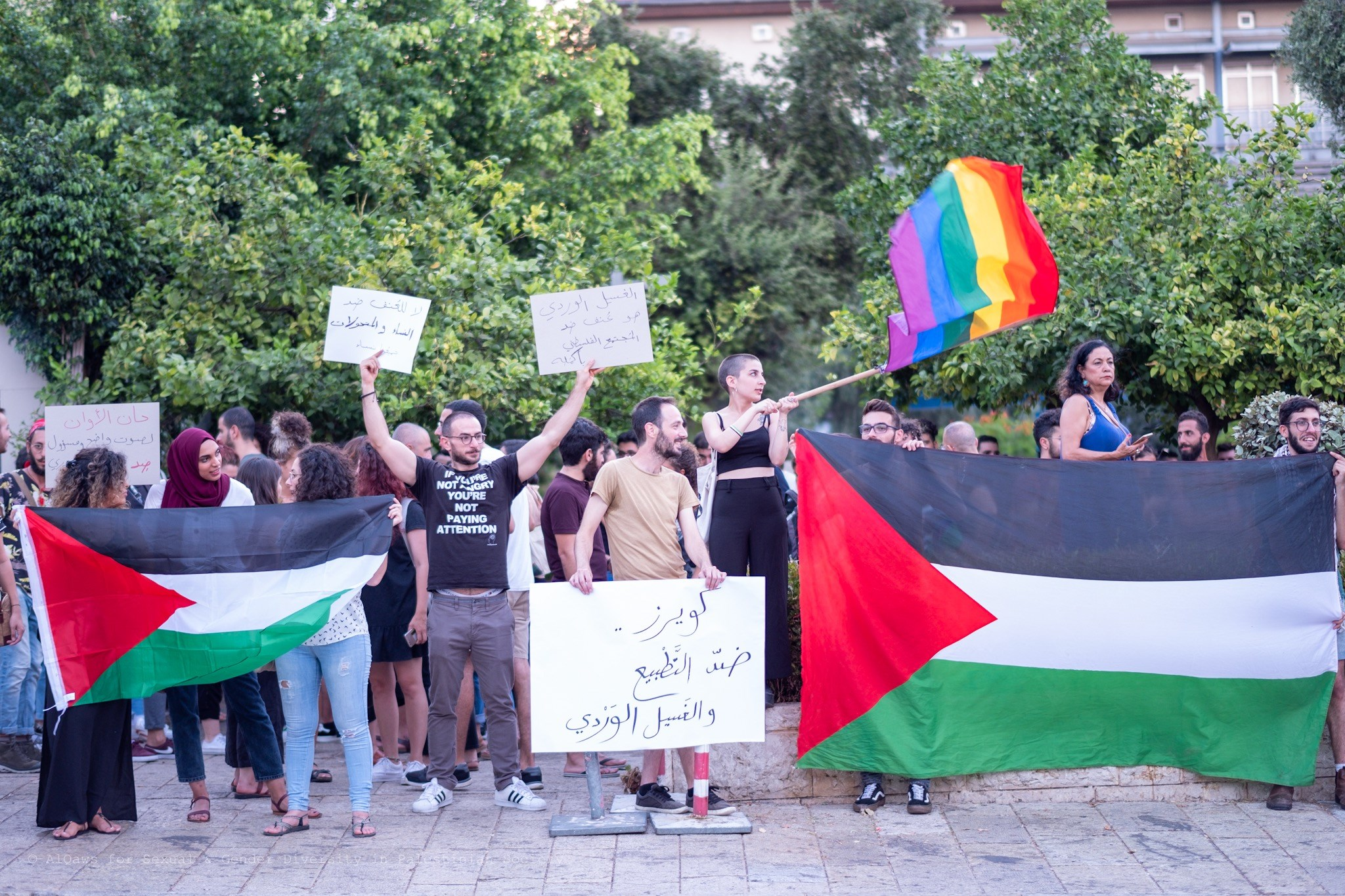 alQaws and Aswat at a protest in Haifa, 2019